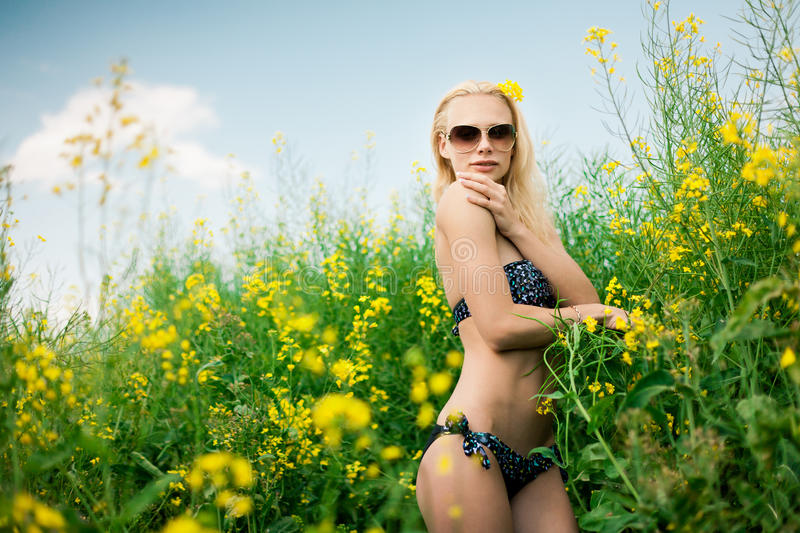 Download Girl on meadow stock image. Image of cute, blond, portrait - 25286535