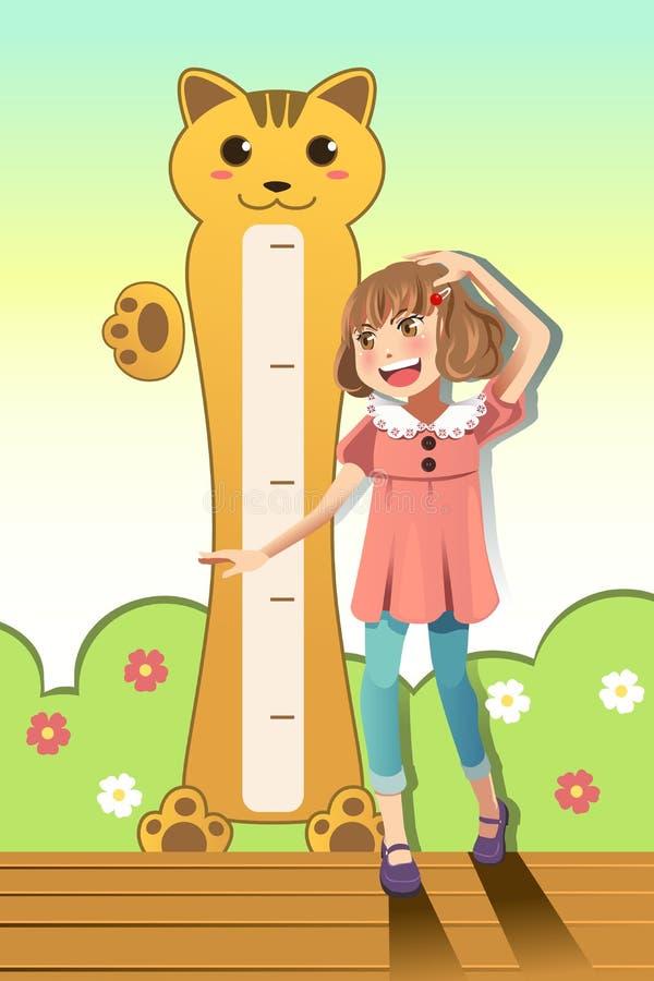 Girl measuring her height stock illustration