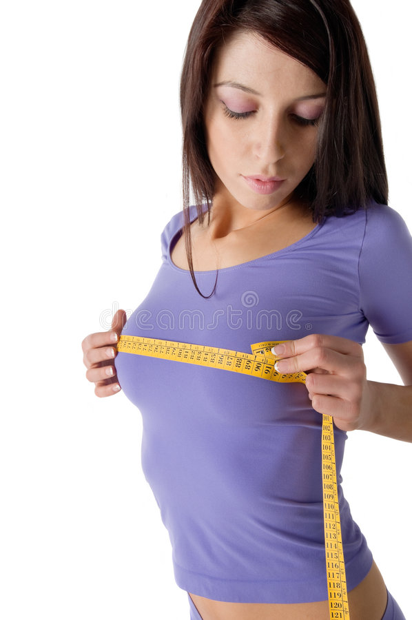 Free Girl Measuring Her Perfect Breast Royalty Free Stock Photography - 5112817