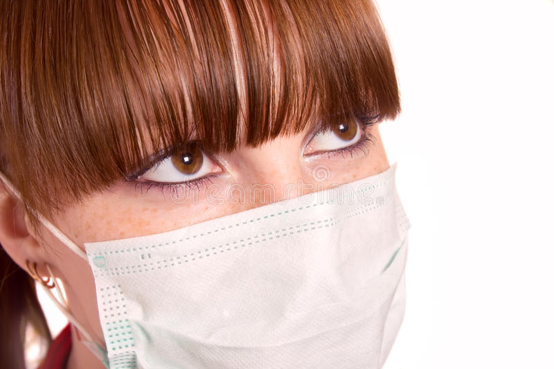 The girl in a medical mask