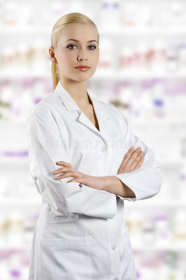 Girl in medical suit stock photography