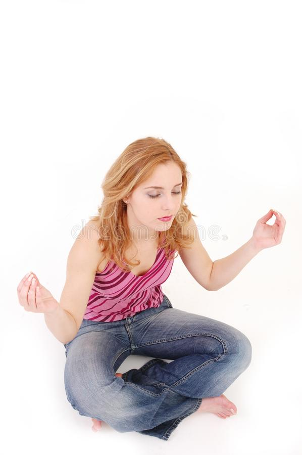 Girl in meditation pose 4 stock photography