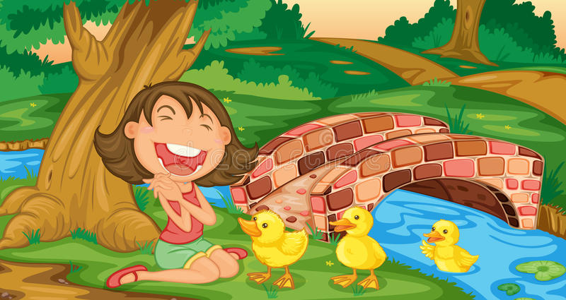 Girl meets ducklings royalty free illustration