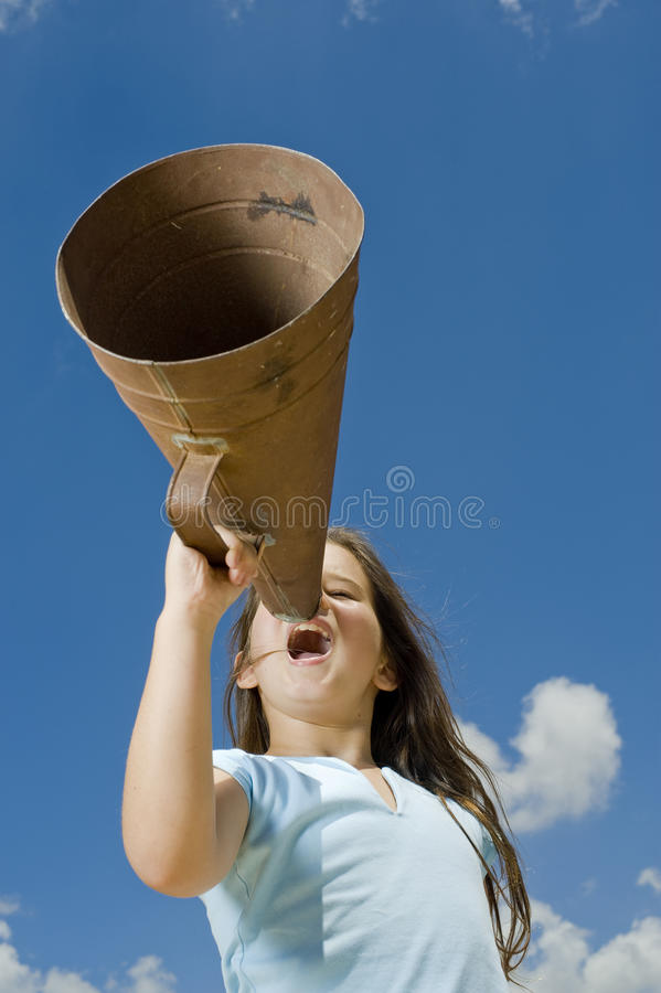 Download Girl and megaphone stock photo. Image of holding, fresh - 10174524