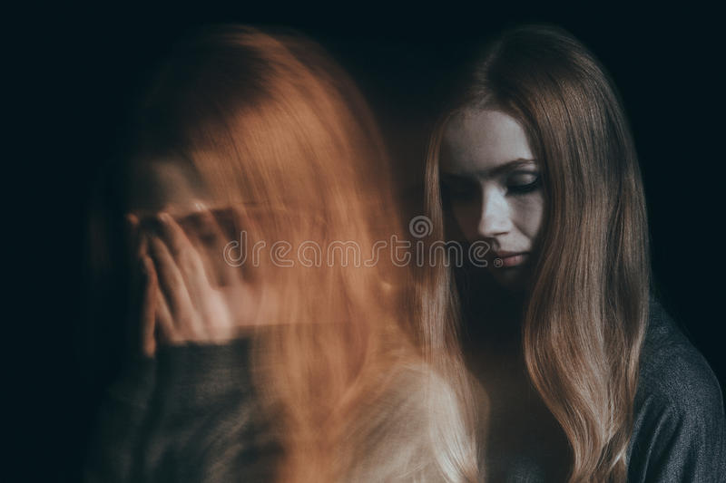 Girl with a mental disorder stock photography