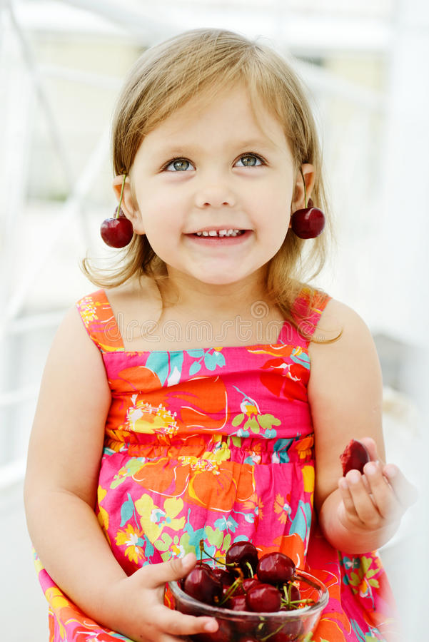 Girl and merry royalty free stock photo