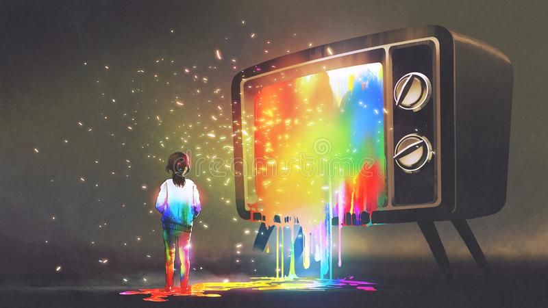 Girl messed with colorful light from TV. Girl messed with colorful light from the big television, rainbow paint drops from retro TV, digital art style stock illustration