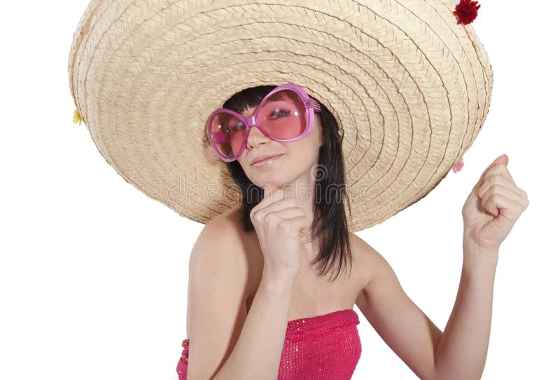 A girl in a Mexican hat. On white background royalty free stock photo