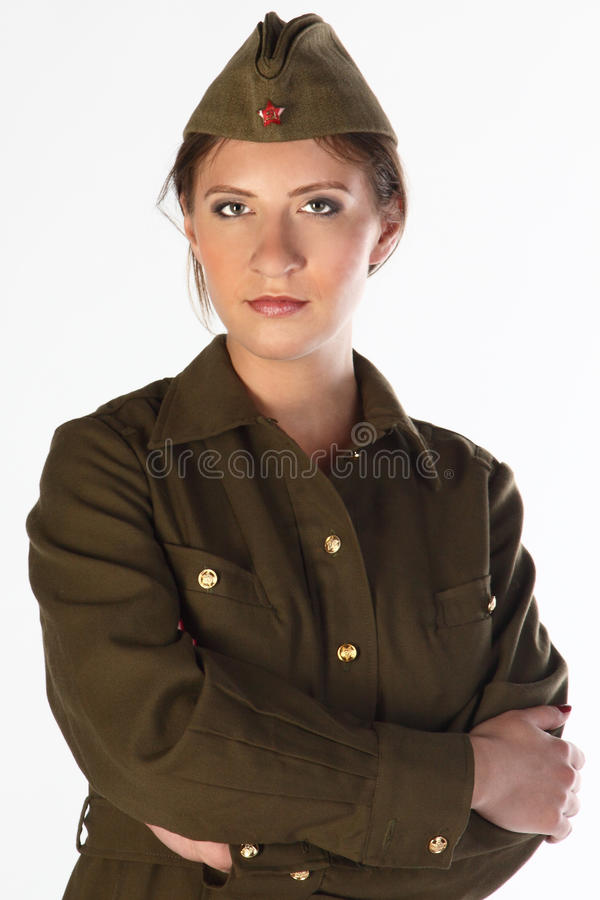 The girl in the military form royalty free stock images