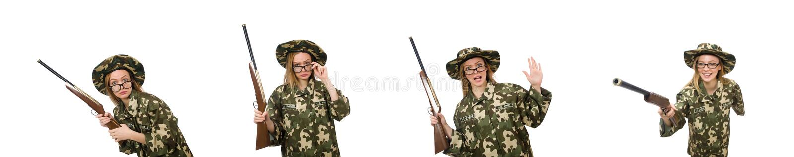 The girl in military uniform holding the gun isolated on white stock images