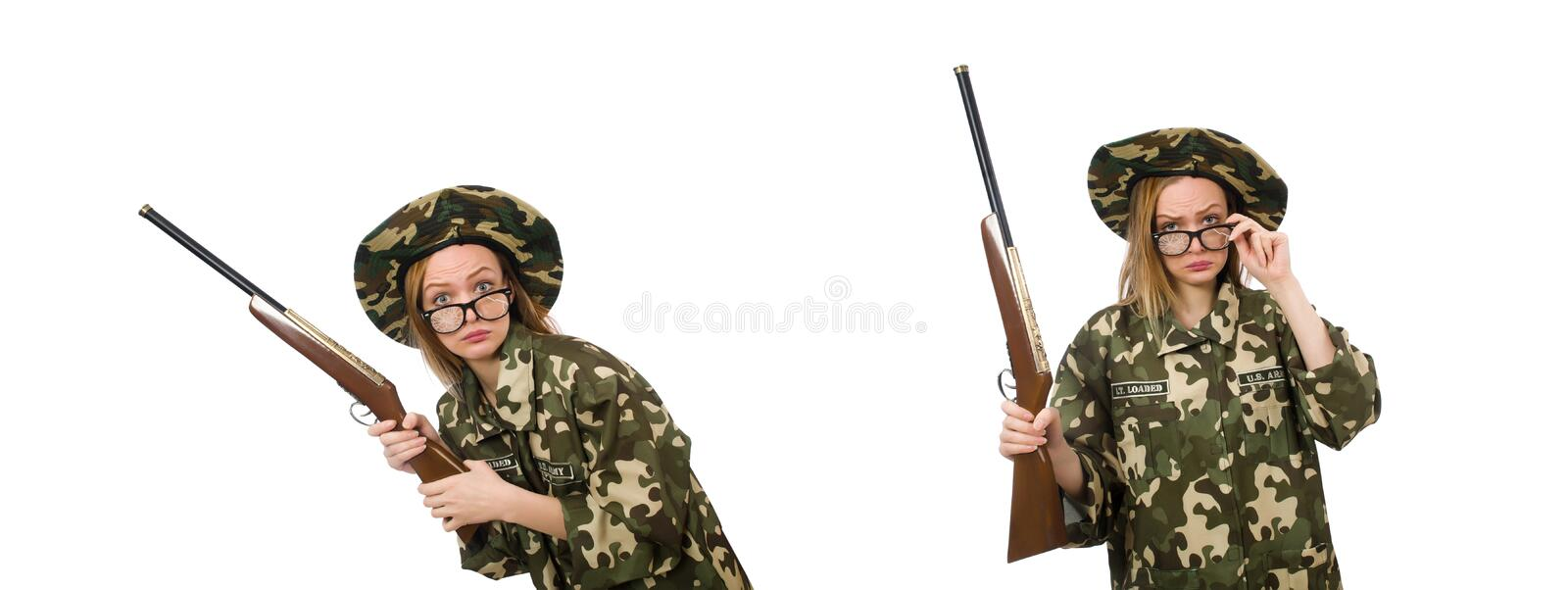 The girl in military uniform holding the gun isolated on white royalty free stock images