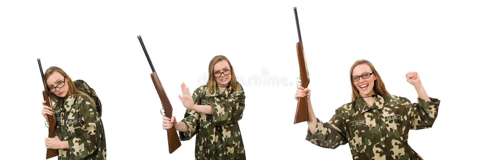 Girl in military uniform holding the gun isolated on white stock image