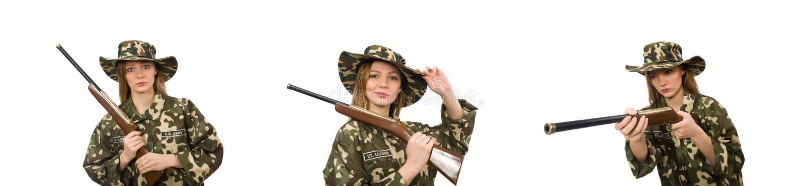 Girl in military uniform holding the gun isolated on white royalty free stock photos