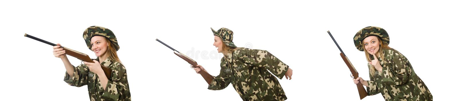Girl in military uniform holding the gun isolated on white stock photo
