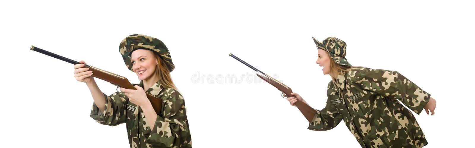 Girl in military uniform holding the gun isolated on white royalty free stock image