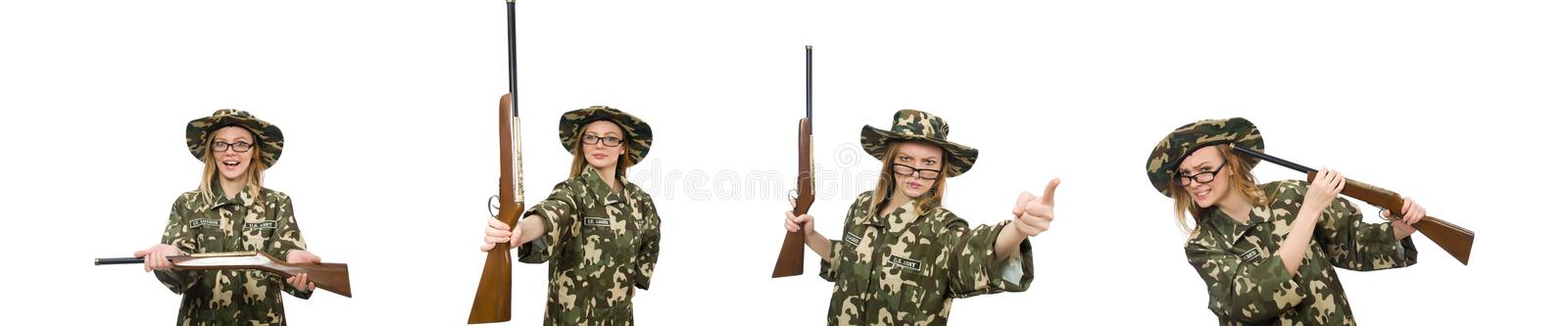 Girl in military uniform holding the gun isolated on white royalty free stock photo
