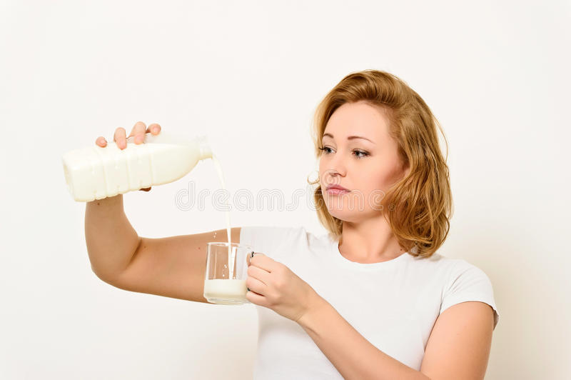 Download Girl with a milk bottle stock image. Image of human, girl - 23587769
