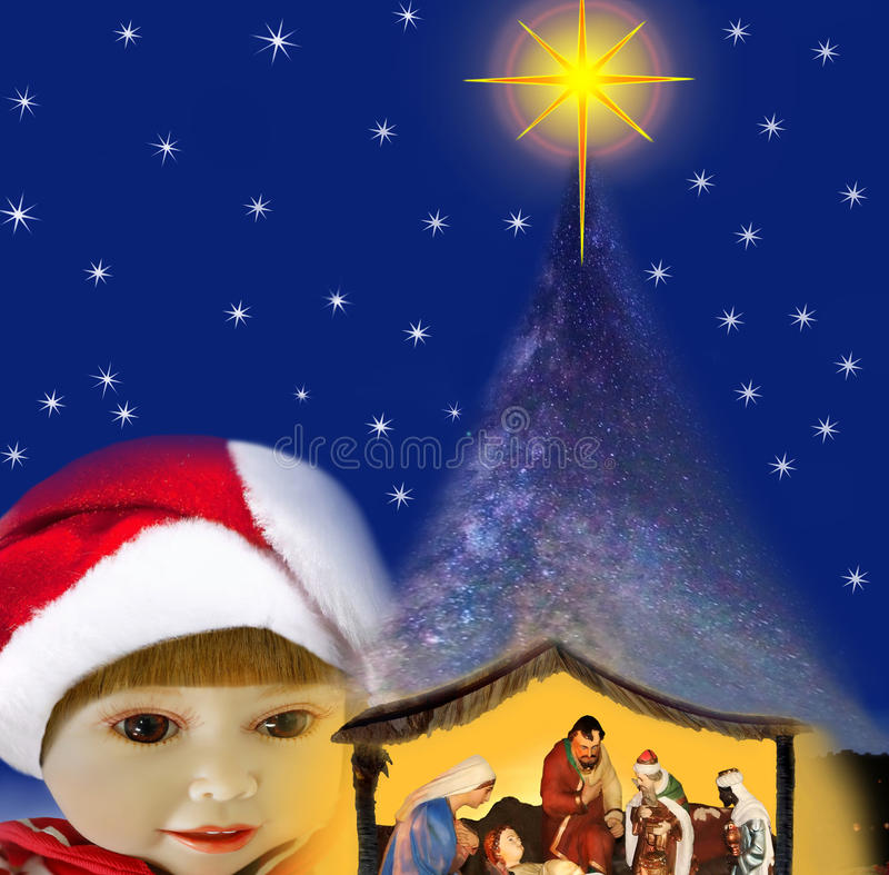 Girl & miracle of christmas night. royalty free stock images