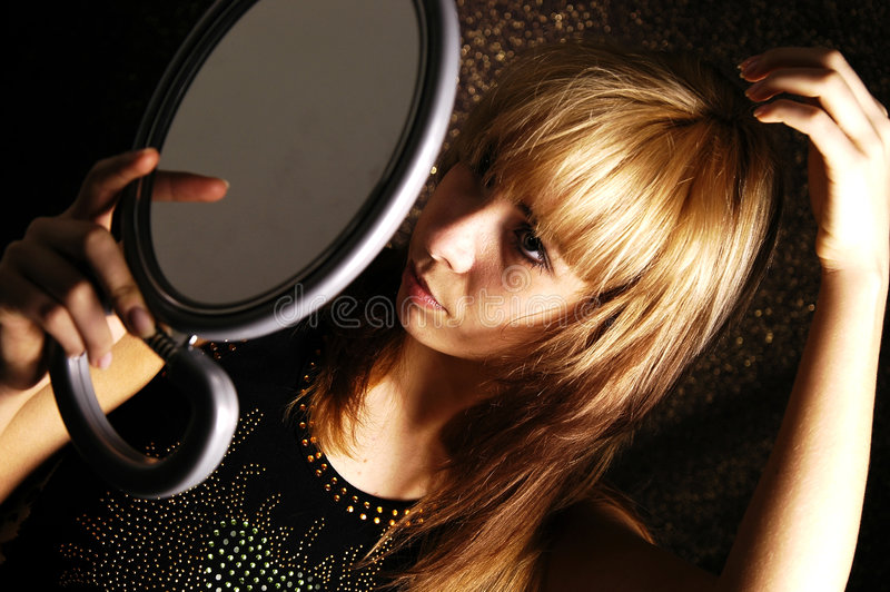 Download Girl at the mirror stock image. Image of blonde, face - 4450735