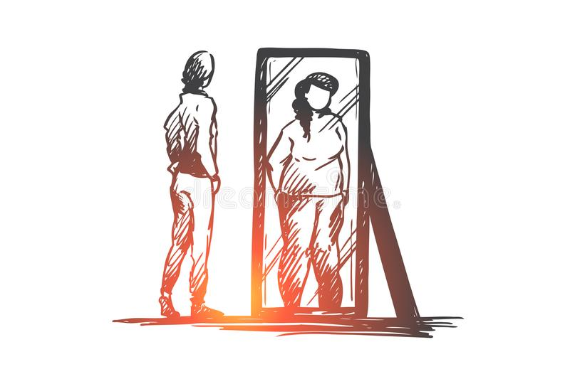 Girl, mirror, body, distorted, weight concept. Hand drawn isolated . Girl, mirror, body, distorted, weight concept. Hand drawn unhappy teenage girl looks at stock illustration