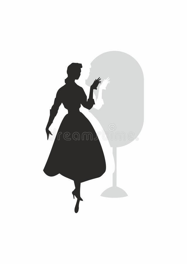 Girl and mirror stock images