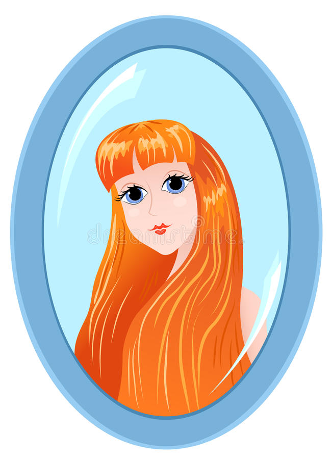 Download Girl in a mirror on white. stock vector. Illustration of bathroom - 22344737
