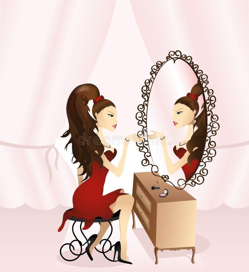 Girl_and_mirror1 ilustração royalty free