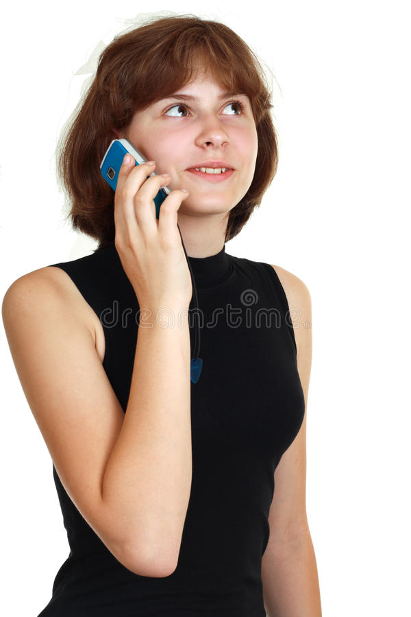 Download Girl with mobile stock image. Image of cellphone, necklace - 25592525