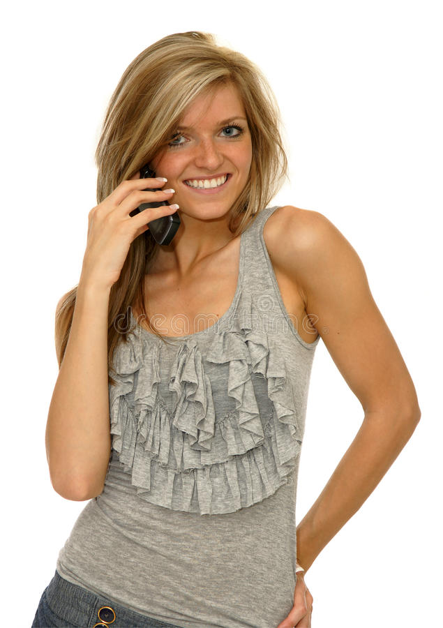 Download Girl with mobile phone stock image. Image of beautiful - 14611565