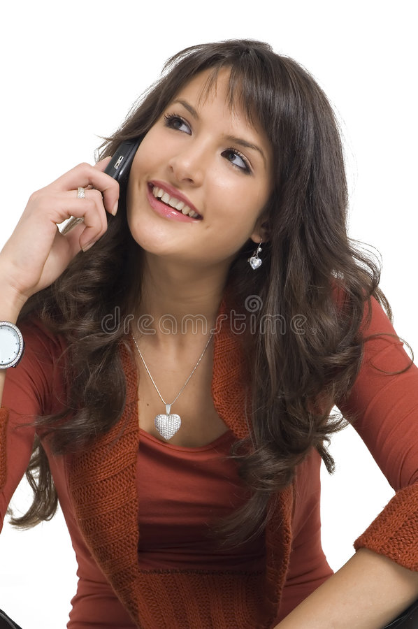 Girl with mobile phone stock photography