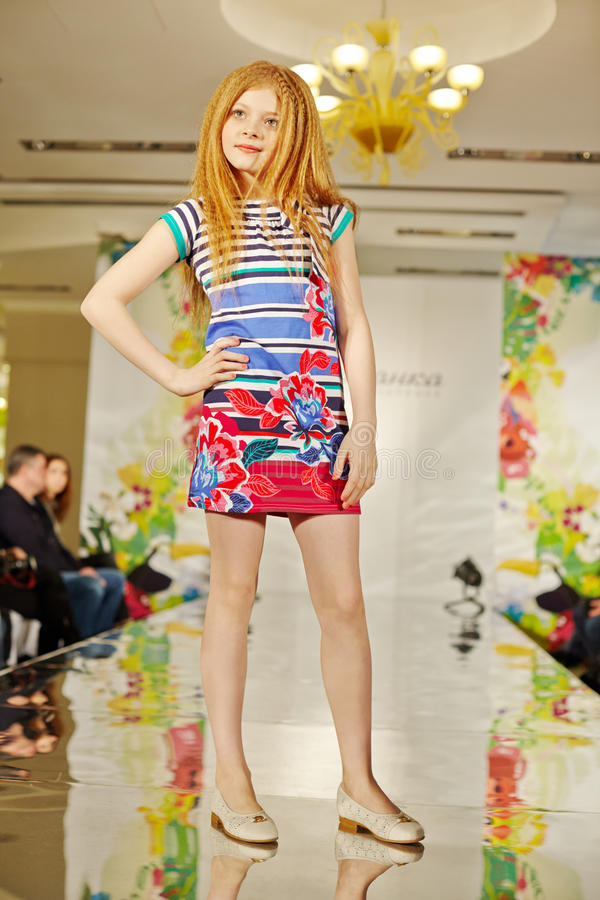 Download Girl Model In Colourful Gown At Podium Editorial Stock Image - Image: 32224099