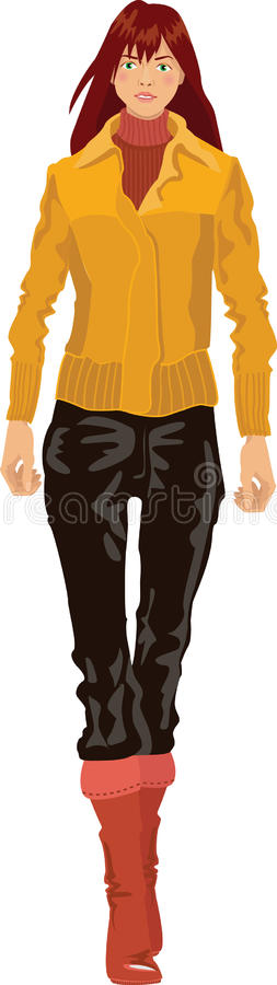 Download Girl Model In A Jacket And Jeans Stock Vector - Image: 14425544