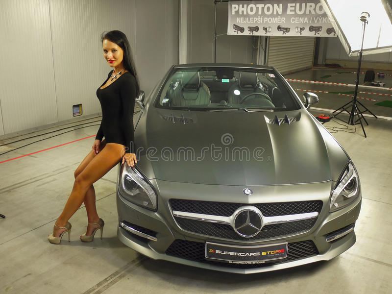 Girl model mercedes benz car auto show editorial stock - Mercedes car show ...