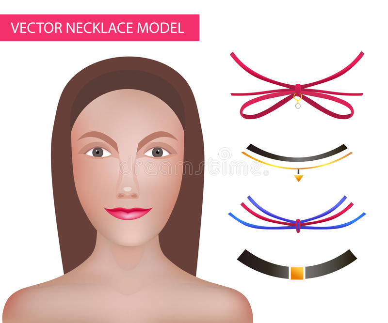 Girl Model Template For Necklaces and Accessories . Choker Constructor. Fashion Vector Illustration. vector illustration
