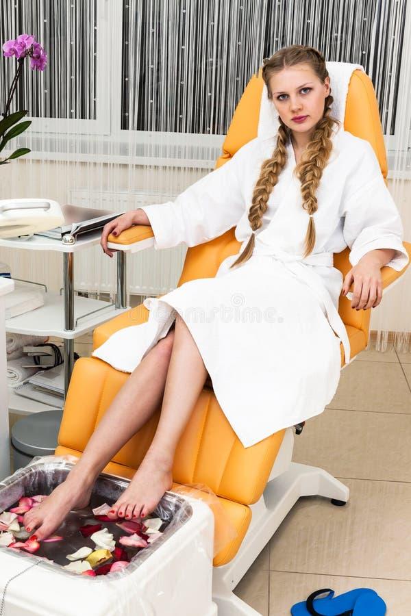 Girl in modern beauty salon stock image