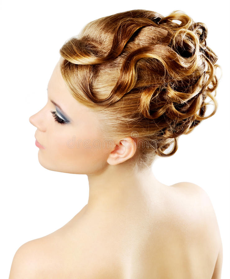 Girl with modern hairstyle isolated on a white royalty free stock photos