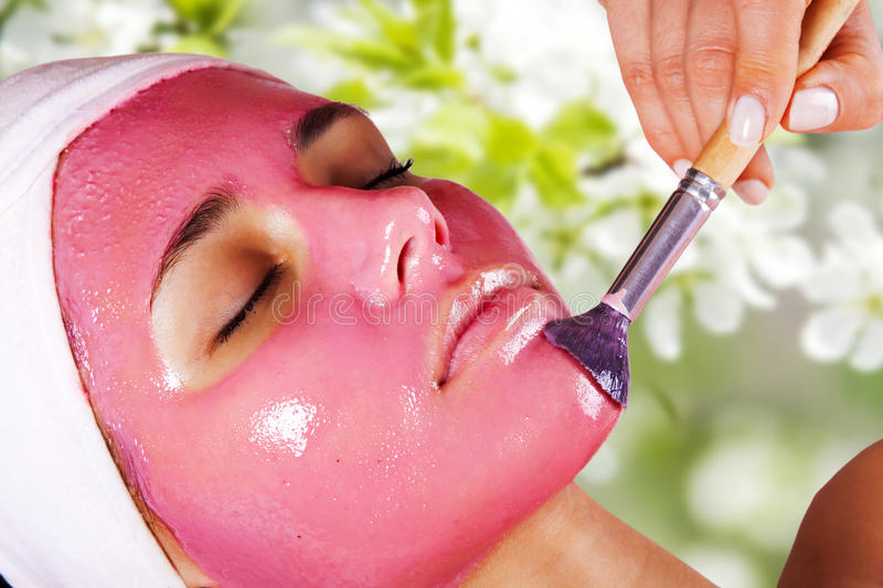 Girl With Moistening Fruit Facial Mask Stock Images