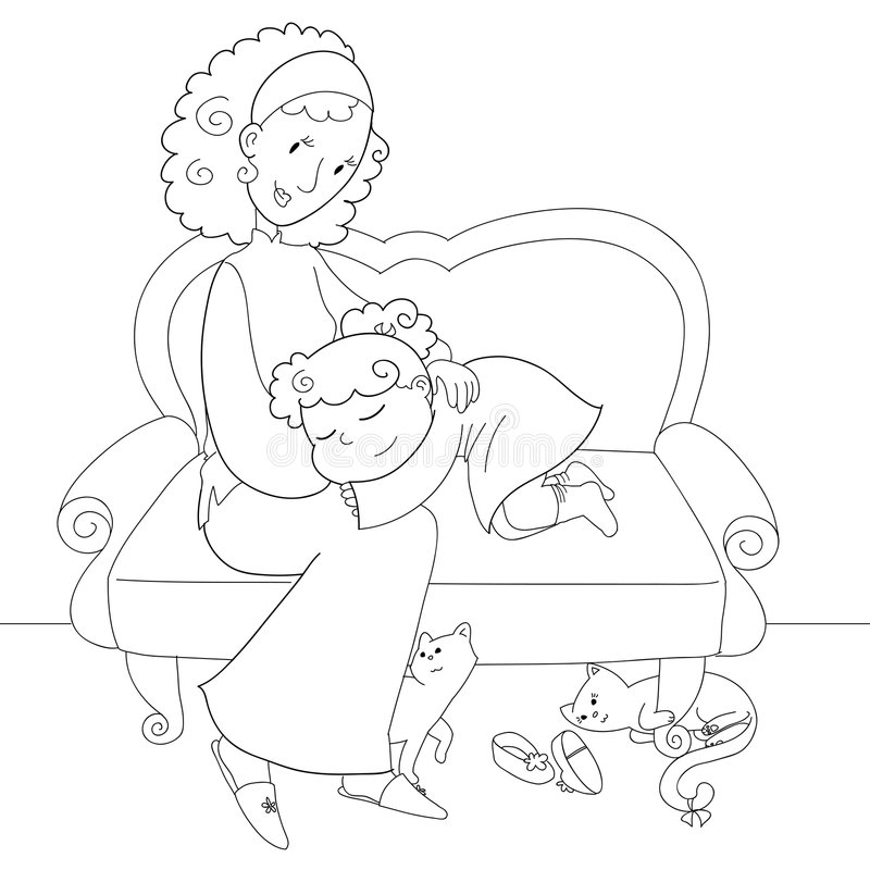 Coloring Girl And Mom Stock Photo