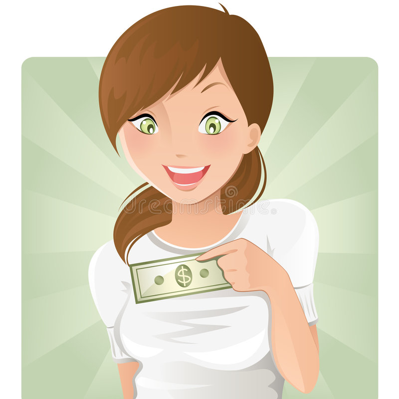 Girl with money. Happy girl with first money