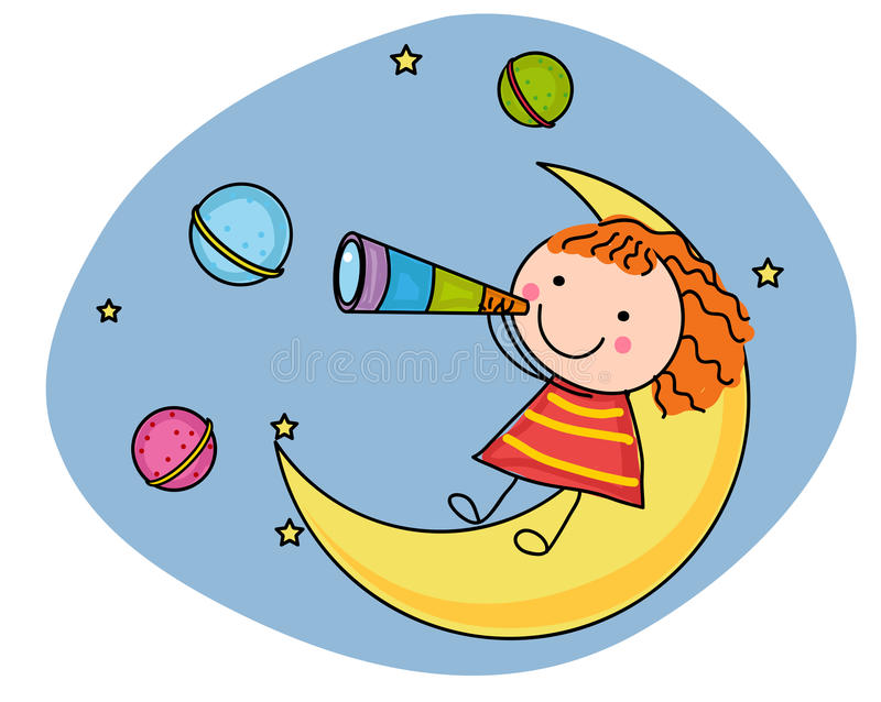 Girl and moon. Illustration of a girl and moon stock illustration