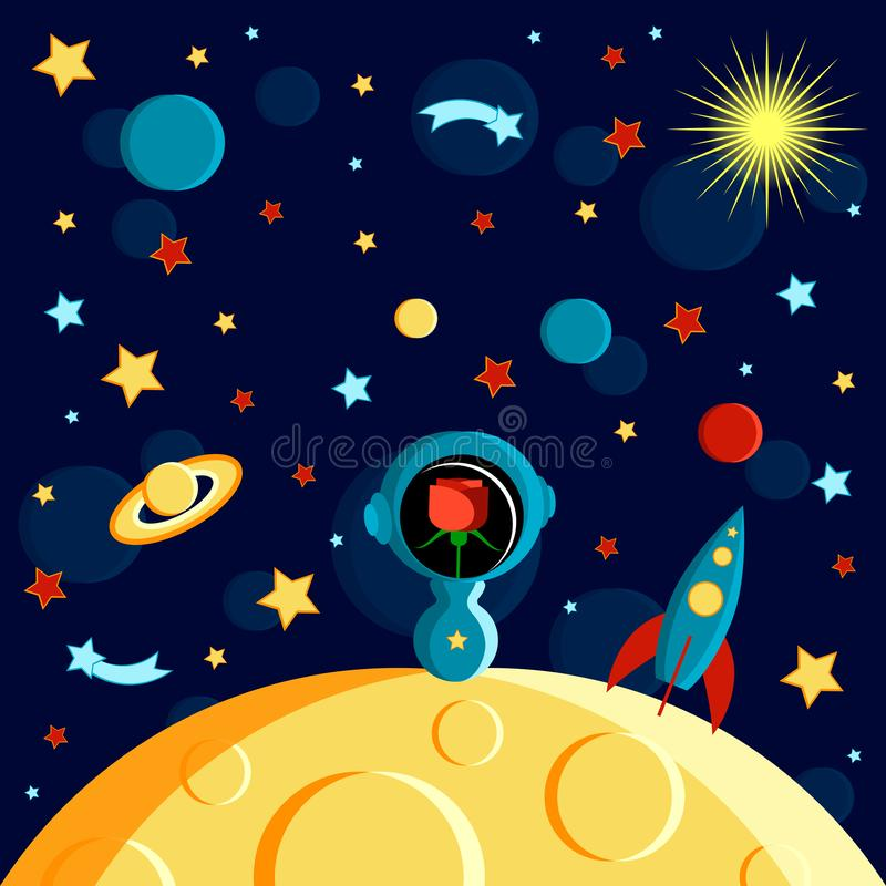Girl on the moon. Moon, Sun, Saturn, Earth, other planets, rocket. Stars, comets, space. Cartoon style. Rose in a spacesuit on the moon. Moon, Sun, Saturn, Earth royalty free illustration