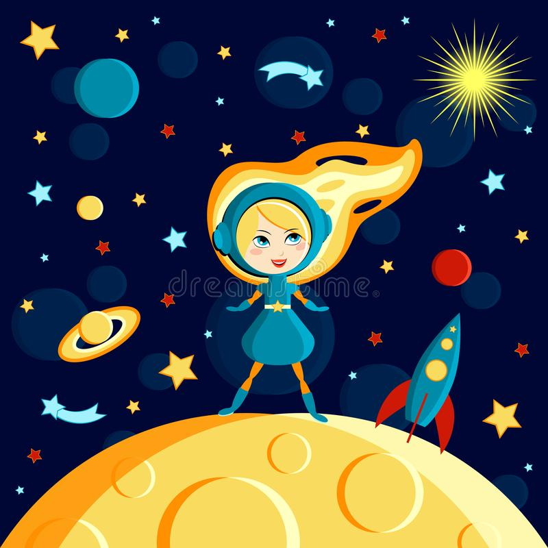 Girl on the moon. Moon, Sun, Saturn, Earth, other planets, rocket. Stars, comets, space. Cartoon style. Girl on the moon. Moon, Sun, Saturn, Earth, other planets royalty free illustration