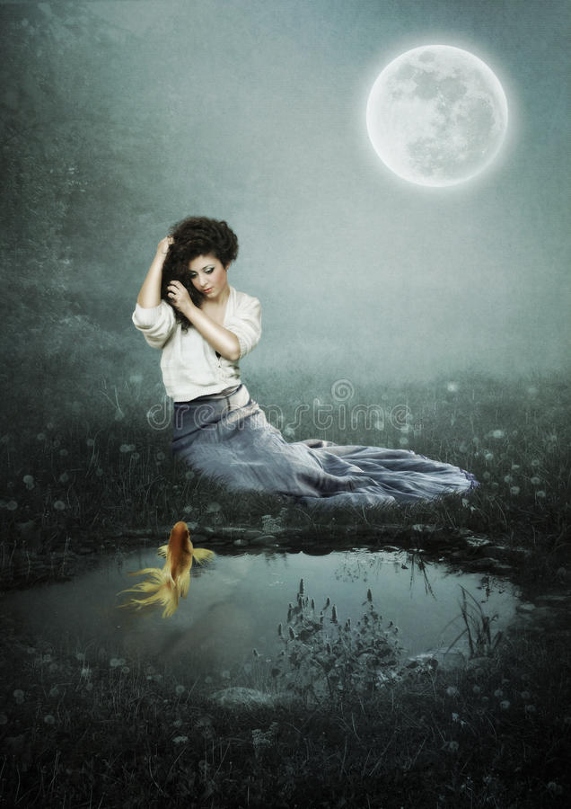 Girl at moonlit night. The young girl with golden fish sitting in the moonlight near the pond royalty free illustration