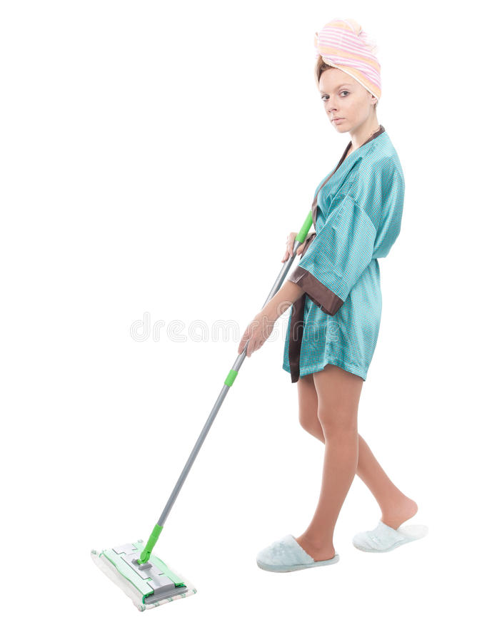 Download Girl with a mop stock image. Image of confident, white - 22342297