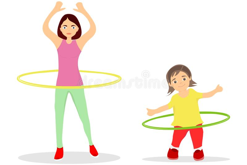 The girl and mother turns the hula hoop. The little girl is engaged in charging and turns the hula hoop along with her mother. Flat design stock illustration
