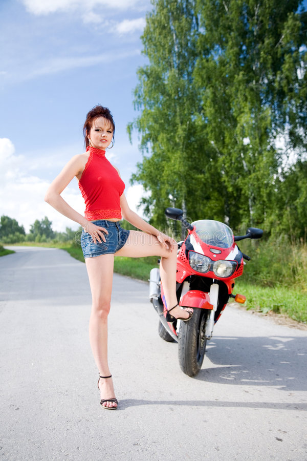Download Girl with motorbike stock photo. Image of brunette, caucasian - 8838838