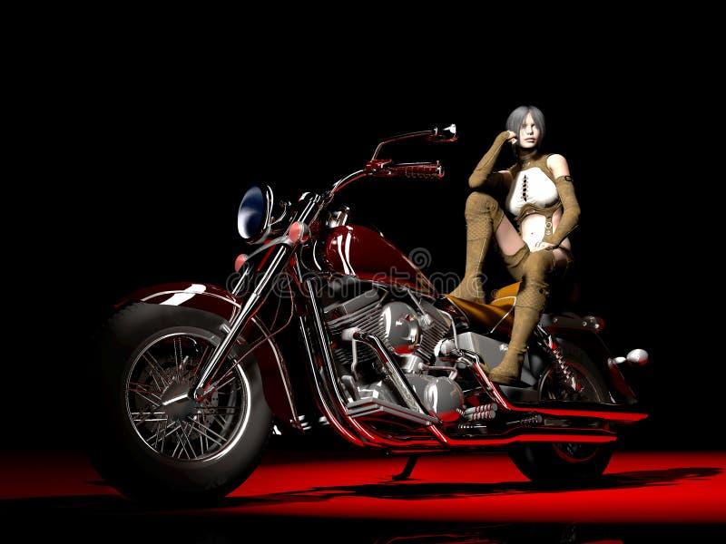 Girl on motorcycle vector illustration