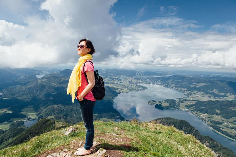 Girl at mountain top stock photos