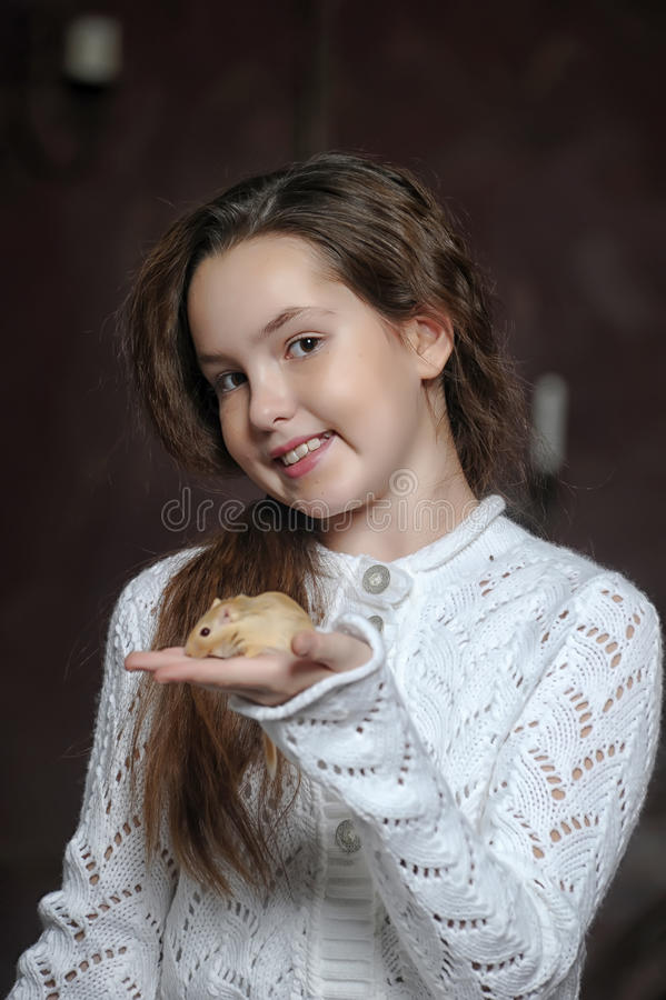 Girl with a mouse royalty free stock photos