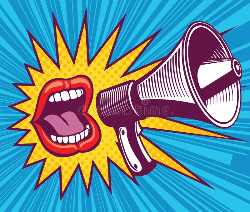 Girl mouth with megaphone. Vector illustration in pop art style royalty free illustration